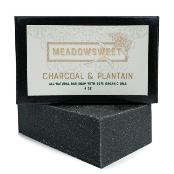 Small black box with white label. Charcoal & Plantain Bar Soap beneath the box.