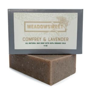 Small gray box with white label. Comfrey & Lavender Bar Soap underneath.