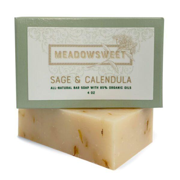 Light green box with green label. Sage & Calendula bar soap underneath.