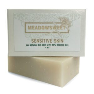 Small box with white label with Sensitive Skin Bar Soap beneath it.